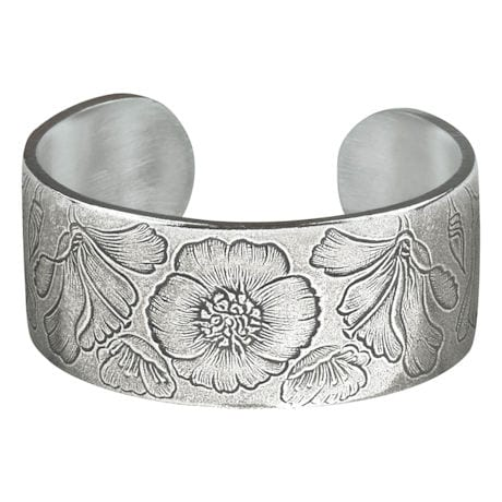 Flower of the Month Pewter Cuff Bracelets