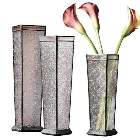 Art Glass Vase Trio