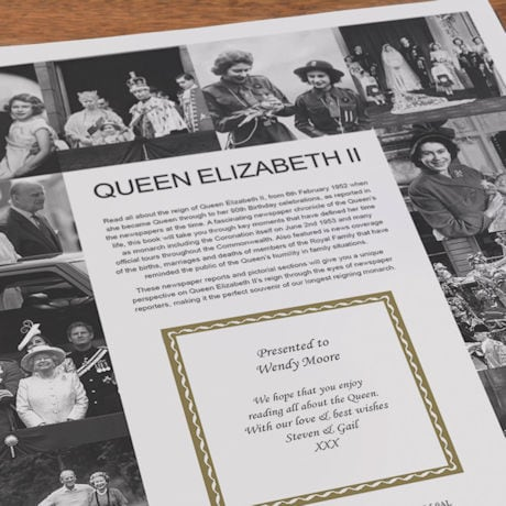 Queen Elizabeth II Personalized Pictorial History Hardcover Book