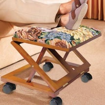Adjustable Fold-Away Tapestry Footrest