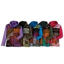 Embroidered Full-Zip Hoodie Sweatshirt Women's Patchwork Folk Art Design