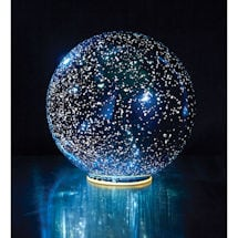 "Lighted Mercury Glass Sphere 8"" or 5"" in Blue - Battery Operated"