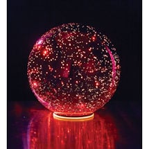 "Lighted Mercury Glass Sphere 8"" or 5"" Ball in Red - Battery Operated"