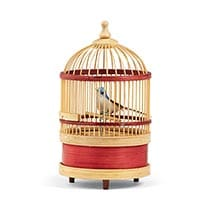 "Wind Up Singing Bird in 7"" High Bamboo Cage"