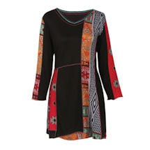 Parsley & Sage Patched Tribal Print Tunic Top