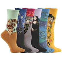 Set of 6 Pairs Fine Art Socks: Da Vinci/Munch/Van Gogh/Klimt