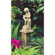 The Little Scholar Garden Sculpture and Pedestal