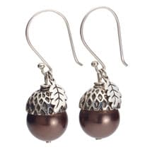 Sterling Silver and Pearl Acorn Earrings - Brown