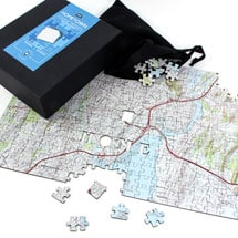 Home Sweet Home Wooden Map Puzzle - Centered on Your Home Address