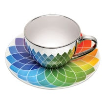 Mirrored Porcelain Cup and Patterned Saucer Set