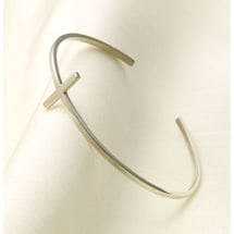 Simple Cross Cuff Bracelet - Sterling Silver