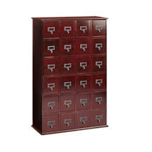 Oak Library Card File Storage Cabinet - 4 Column