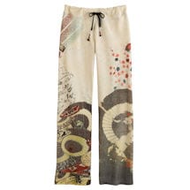 Asian Print Lounge Pants - Ivory with Dragons