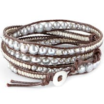 Leather Lagoon Wrap Bracelet with Leather Cording, Pearls & Beads
