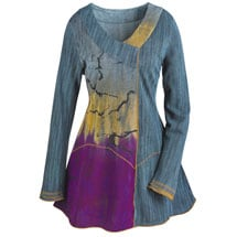 Cross Over Painterly Tunic Top