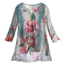 Abstract Floral Chiffon Tunic Top
