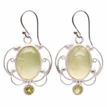 Prehnite and Peridot Sterling Earrings