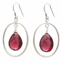 Floating Garnet Sterling Earrings
