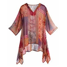 Dress-Up Op Print Tunic Top