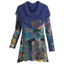 Paisley Print Sweater Tunic Top With Scarf