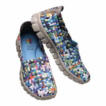 Turquoise Blooms Stretch Slip-On