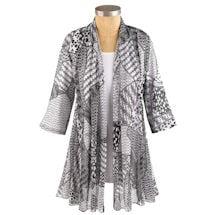 Women's Artsy Black & White 3/4 Sleeve Jacket
