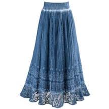 Indigo Pigment Washed Crochet Skirt