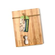 "Words With Boards Maple Hardwood Cutting Board - ""Home"" with Hand-Cut Pineapple Accent - Premium USA-Made Butcher Block"