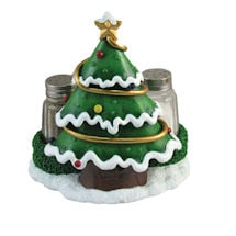DWK Christmas Tree Salt and Pepper Shaker Set - Holiday Theme Spice Containers/Holders - Kitchen and Dining Decor