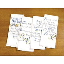 Bible Verse Tea Towels with Embroidered Psalms and Birds