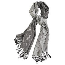 Treble Clef Pashmina Silver Scarf Wrap with Music Notes