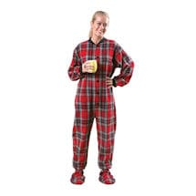 Adult Flannel Footed Pajamas - Plaid