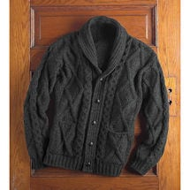 Men's Aran Cable Knit Cardigan Sweater
