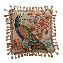 Green Tail Peacock Pillow