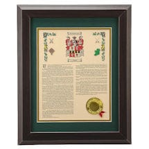 Framed Coat of Arms/Family Crest & Surname History Print Plaque