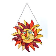 Sun Face Stained Glass Window Panel