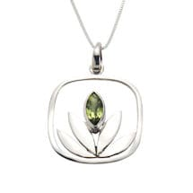 Peridot Lotus Necklace