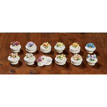 Floral Porcelain Boxes - Set of 12