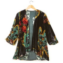 Victorian Garden Black Velvet Fashion Jacket - 3/4 Sleeves