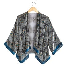 Peacock Feathers Velvet Jacket