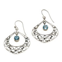 Blue Topaz Filigree Earrings