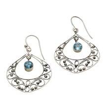 Blue Topaz Filigree Earrings
