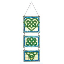 Stained Glass Celtic Hanging Triptych