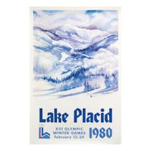 "Vintage 1980 Lake Placid XIII Olympic Winter Games Poster - 24"" x 35"""