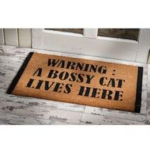 Warning: A Bossy Cat Lives Here Doormat