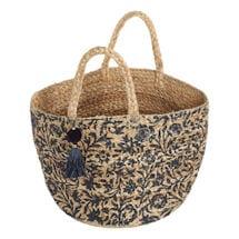 Blue Floral Jute Bag