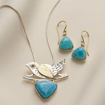 Larimar Bird Earrings