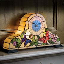 Lighted Stained Glass Butterfly Mantle Clock