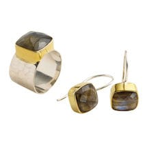 Labradorite Two-Tone Earrings