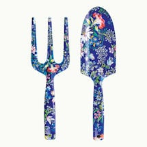 Blue Floral Garden Tools: Trowel and Hand Fork Set